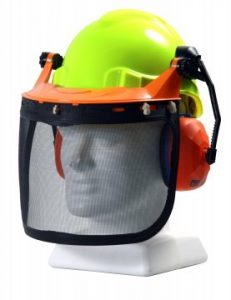 Hardhat forestry combo with mesh visor neon yellow