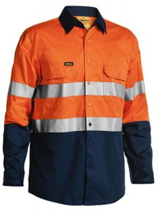 Shirt Bisley Taped Hi Vis Cool Lightweight BS6896 Orange or Yellow