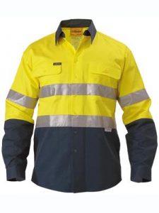 Shirt Bisley Taped Hi Vis Drill Shirt 190G Orange or Yellow