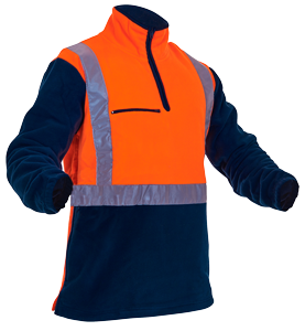 Polar Fleece Caution D/N Heavy 380gsm Orange/Navy