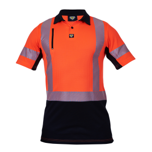 Polo Premium D/N Hi Vis Orange/Black Short Sleeve