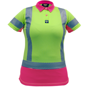 Polo D/N Womans Microvent Yellow/Pink Premium
