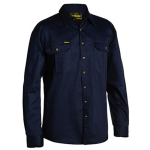 Shirt Bisley Original Cotton Long Sleeve Navy or Black BS6433
