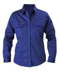 Shirt Bisley Womans Drill Cotton Long Sleeve Navy BL6339