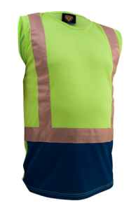 Singlet Caution Mocrofibre D/N Hi Vis Yellow/Navy or Orange/Navy