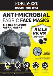 BLACK 3 Layer Anti-Microbial Fabric Face Mask Each