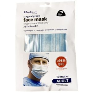 Help-It 4 Ply – Disposable Ear Loop Mask – ADULT 10pack