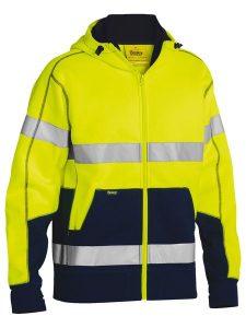 Hoodie Fleece Taped Hi Vis Bisley Yellow/Navy