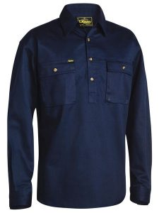 Shirt Bisley 100% Cotton Closed Front Navy
