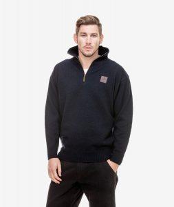 Jersey Swanndri Men's Mariner Wool Zip Neck Sweater Navy