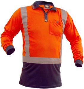 Polo Caution Hi-Vis D/N Long Sleeve Microfibre – Orange/Navy
