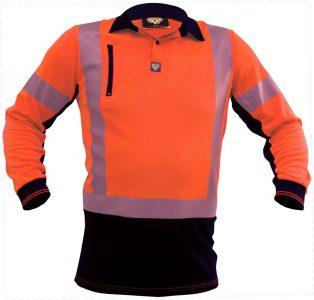 Polo Long Sleeve Hi Vis D/N Microvent Orange/Black Premium