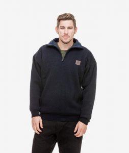 Swanndri Men's Rhino Stormshield Wool Jersey with Windproof Lining Navy