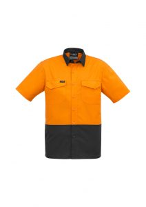 Mens Rugged Cooling Hi Vis Spliced S/S ShirtYellow/Charcoal7