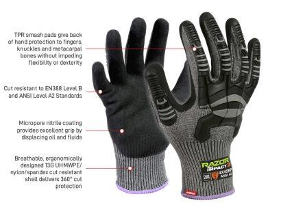 Glove Razor Grey Impact 3 Cut B TPR Impact Protection