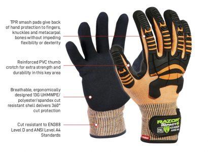 Glove Razor Orange  Impact 5 Cut D TPR Impact Protection
