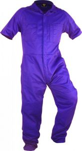 Caution Poly Cotton Short Sleeve Zip Overall – Royal